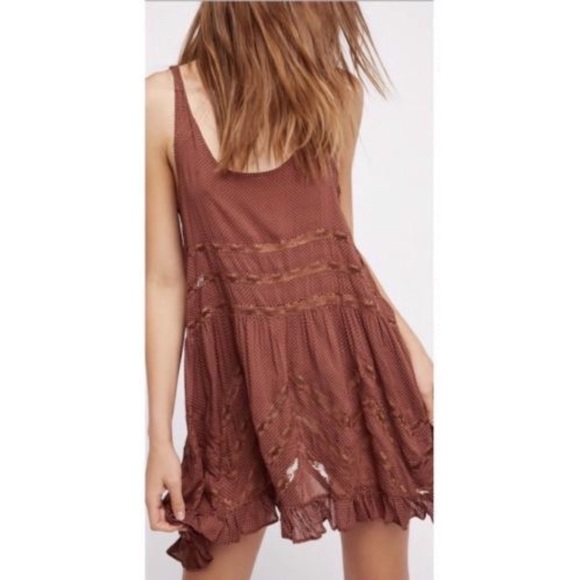 Free People Dresses & Skirts - *FLASH SALE!!!* NWOT VOILE LACE TRAPEZE SLIP BROWN